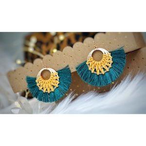 Jewelry - NEW! Emerald Mustard Hoop Tassel Hoop Earrings
